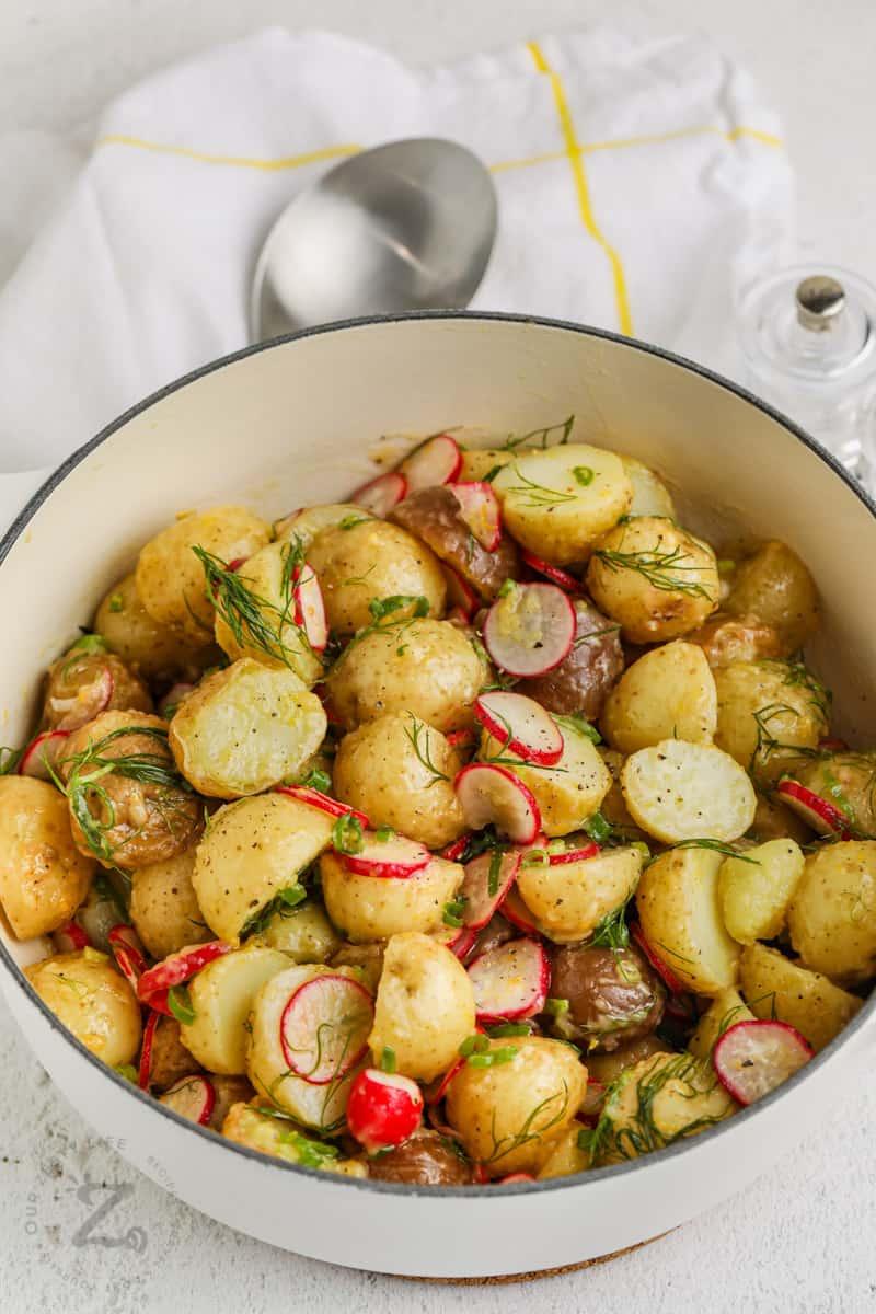 Vinaigrette Potato Salad mixed in the pot