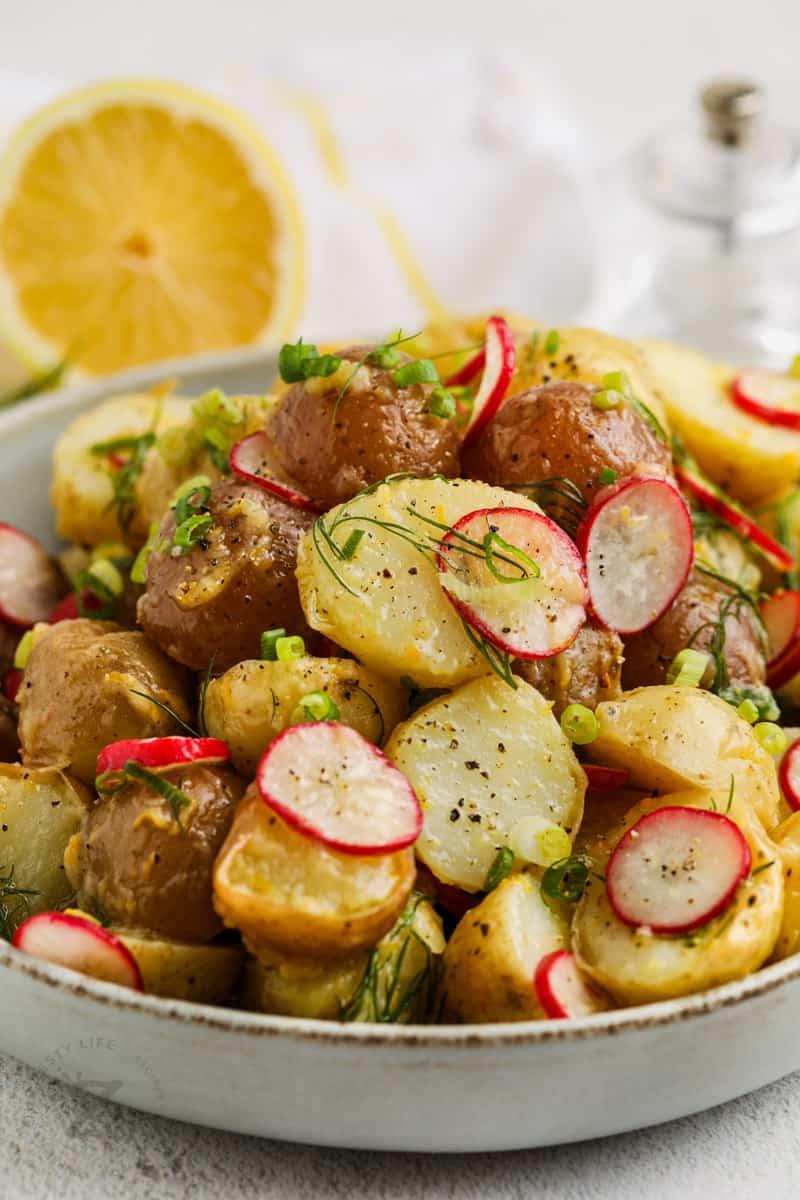 close up of Vinaigrette Potato Salad