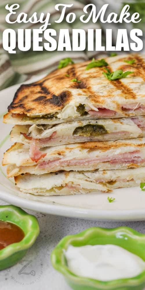 close up of cooked Grilled Quesadillas on a plate with writing