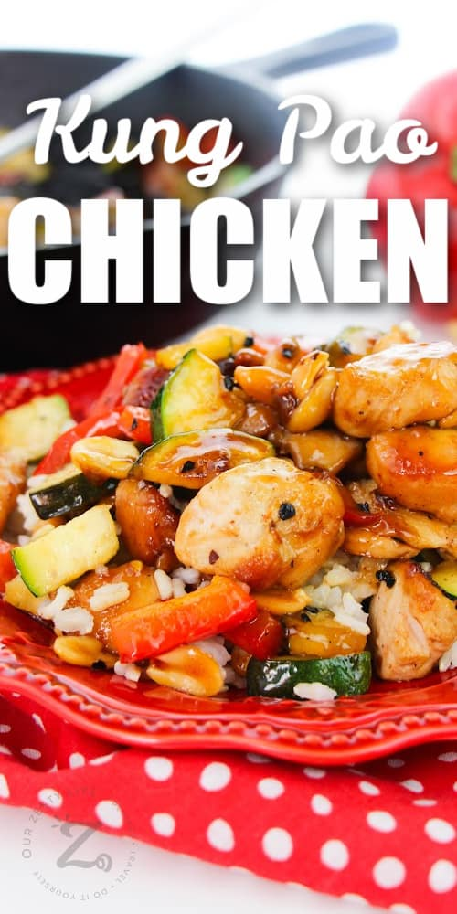 Kung Pao Chicken served on a red plate with a title