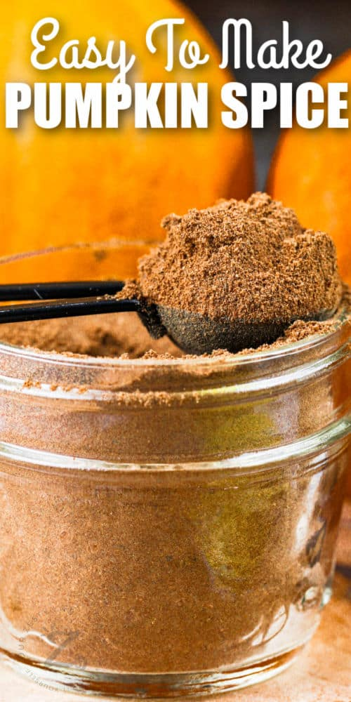 close up of a jar of Pumpkin Spice with a spoon full and writing