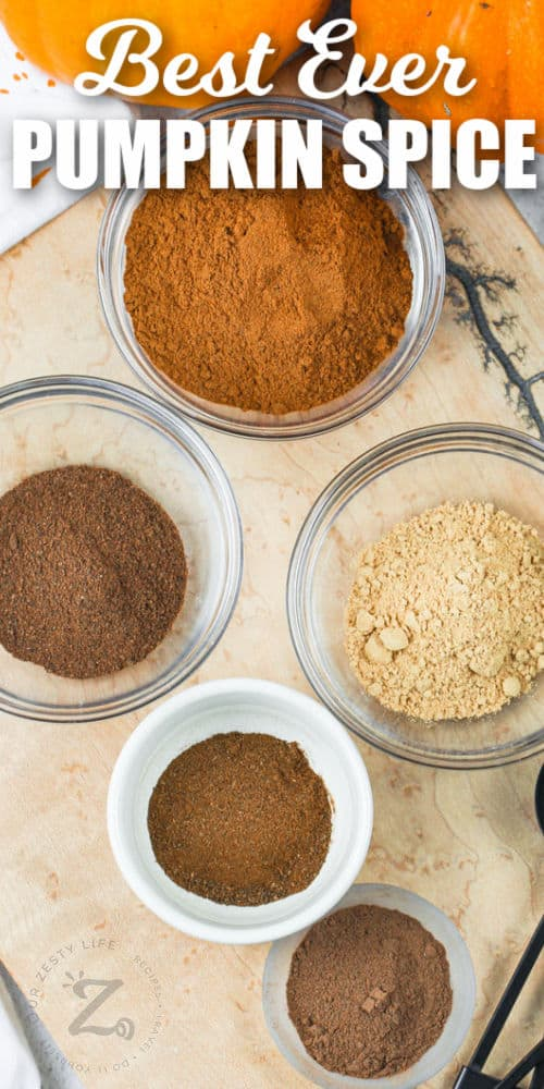 spices in bowls to make Pumpkin Spice with a title