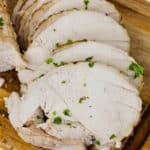 close up of Roast Turkey Breast cut into slices
