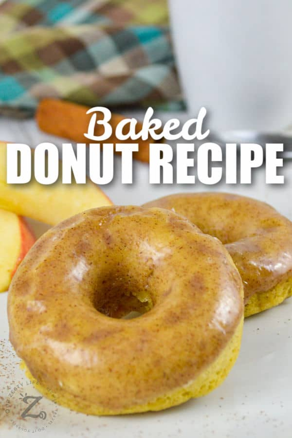 plated Baked Apple Donuts with writing