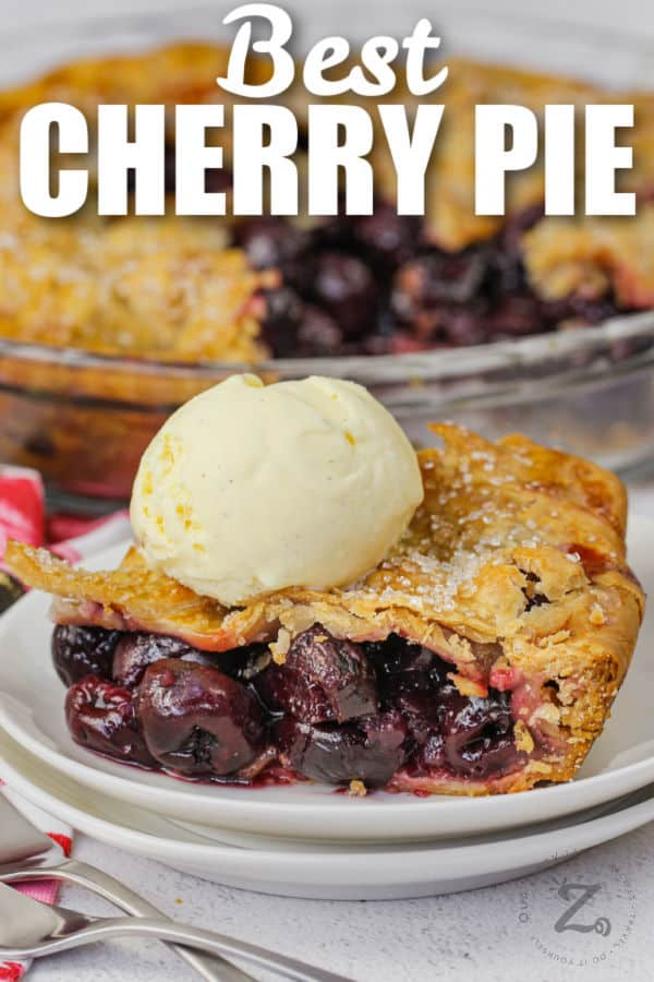 plated Cherry Pie with ice cream and writing