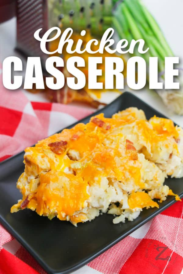 slice of Crack Chicken Casserole on a plate with a title