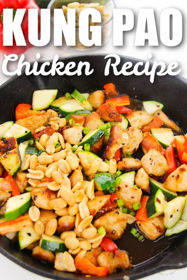 cooking Kung Pao Chicken with a title
