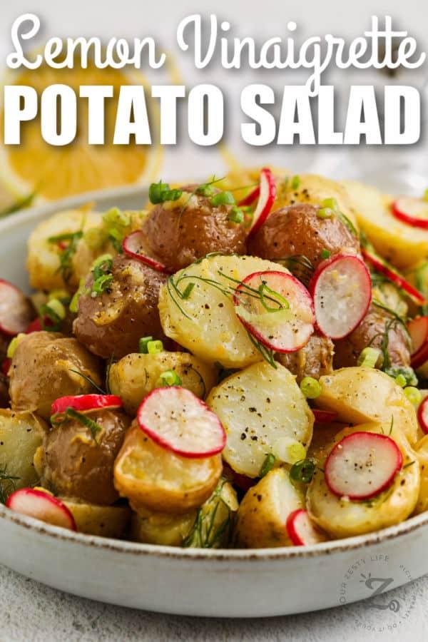 close up of plated Vinaigrette Potato Salad with writing