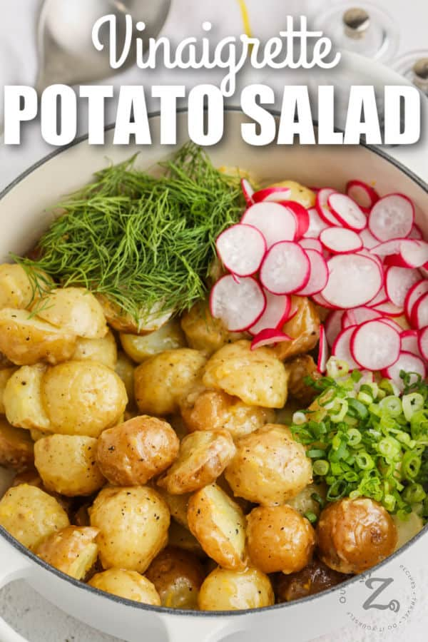 ingredients in the pot to make Vinaigrette Potato Salad with a title
