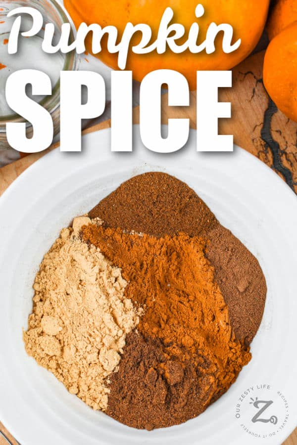 spices on a plate to make Pumpkin Spice with a title