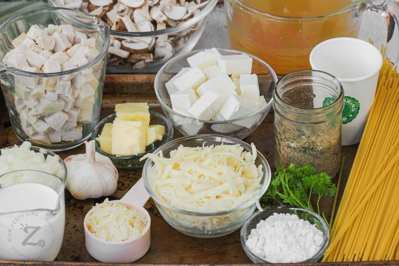 Turkey Tetrazzini in bowls on a baking sheet