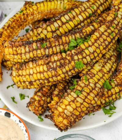 close up of plated Air Fryer Corn Ribs