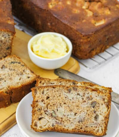 slices of Fresh Pear Bread on a plate